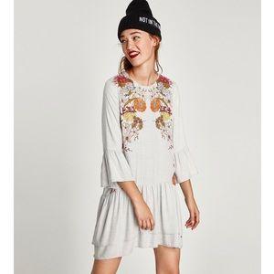 Zara Dress Light Gray Floral Print Bell Sleeve